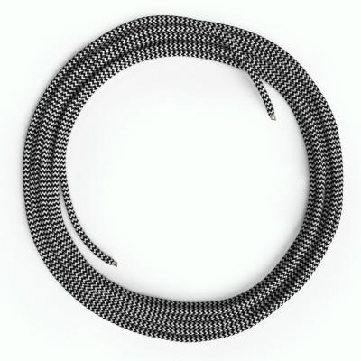 LAN sieťový textilný kábel Cat 5e bez konektorov RJ45 - umelý hodváb, RZ04 Čierno-biely cik cak
