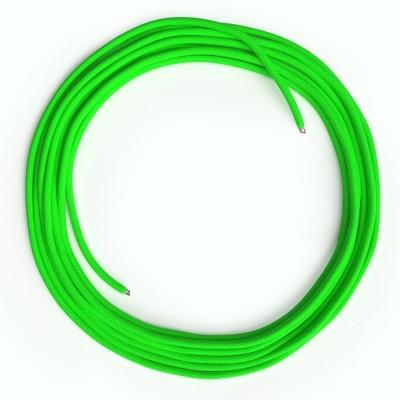 LAN sieťový textilný kábel Cat 5e bez konektorov RJ45 - umelý hodváb, RF06 Fluo zelená
