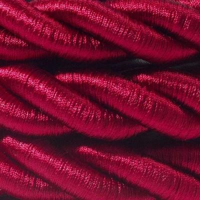 Elektrický kábel 2XL, kábel 3x0,75 potiahnutý lesklou tmavo bordovou textíliou. Priemer 24 mm.