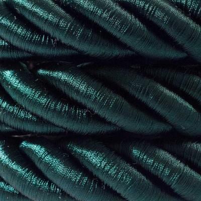 Elektrický kábel 2XL, kábel 3x0,75 potiahnutý lesklou tmavo zelenou textíliou. Priemer 24 mm.