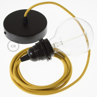 Závesná lampa pre tienidlo s okrúhlym textilným káblom - hodváb - horčicová RM25