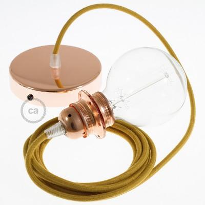 Závesná lampa pre tienidlo s okrúhlym textilným káblom - bavlna - zlatý med RC31