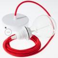 Závesná lampa pre tienidlo s okrúhlym textilným káblom - bavlna - ohnivo červená RC35