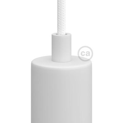 Biela kovová valcová káblová svorka so závitovou rúrkou, matkou a podložkou