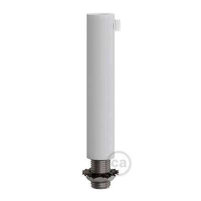 Biela kovová valcová 7 cm dlhá káblová svorka so závitovou rúrkou, matkou a podložkou