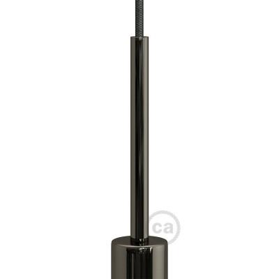 Čierna perleťová kovová valcová 15 cm dlhá káblová svorka so závitovou rúrkou, matkou a podložkou