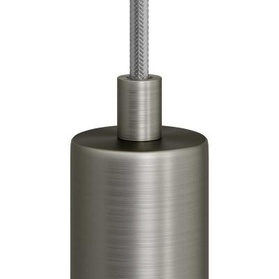 Matná chromovaná valcová kovová káblová svorka so závitovou rúrkou, matkou a podložkou
