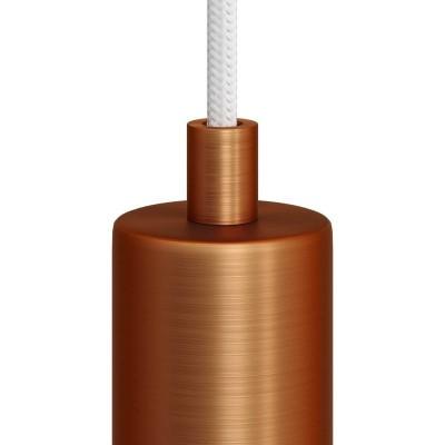 Matná medená valcová kovová káblová svorka so závitovou rúrkou, matkou a podložkou