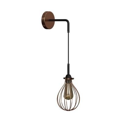 Fermaluce Urban kovové nástenné svietidlo s tienidlom Kvapka a ohnutou predlžovacou rúrkou