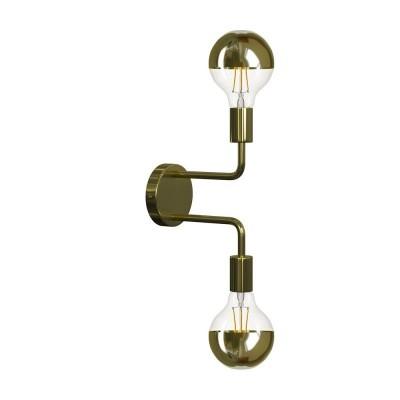 Fermaluce Glam Metal kovové nástenné svietidlo s dvoma ohnutými kovovými rúrkami