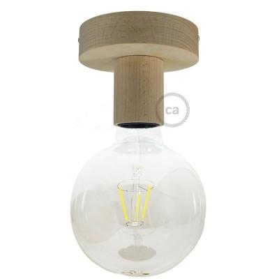 Fermaluce Natural, prírodné drevené bodové svietidlo na stenu alebo strop