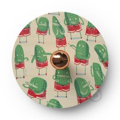 Fermaluce Funny Pop s obojstranným dreveným tienidlom UFO s ilustráciami od rôznych umelcov