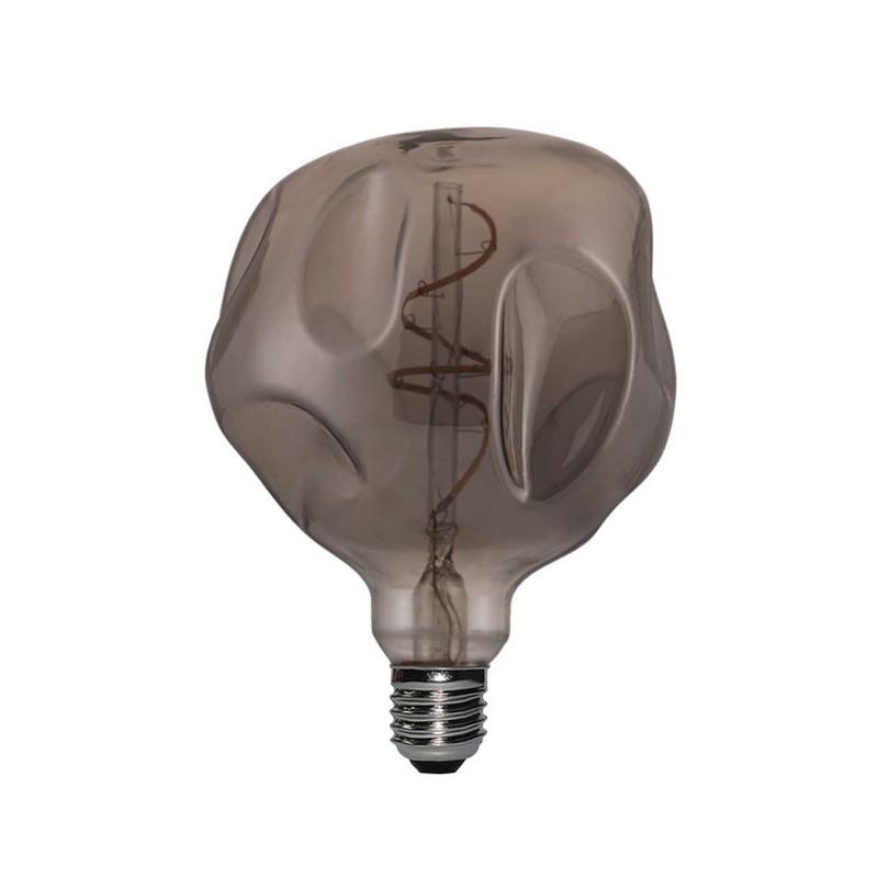 Smoky LED Glóbus G125 - deformovaná, tmavá, špirálové vlákno - 5W E27 Stmievateľná 2000K