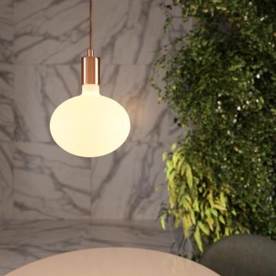 Závesná lampa s textilným káblom a kontrastnými kovovými prvkami - Vyrobené v Taliansku