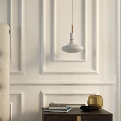 Závesná lampa s textilným káblom, kovovými prvkami a 7cm káblovou svorkou - Vyrobená v Taliansku