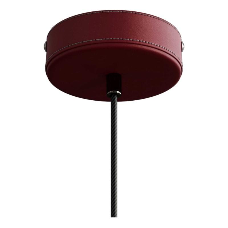 Závesná lampa s textilným káblom a koženými prvkami - Vyrobená v Taliansku