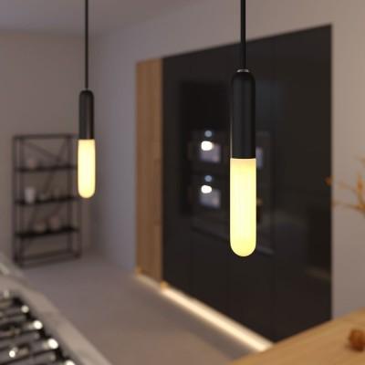 Závesná lampa s textilným káblom, objímkou E14 P-Light a kovovými prvkami - Vyrobená v Taliansku