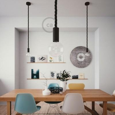 Závesná lampa s 2XL 24mm lanovým káblom, lakované drevené prvky - Vyrobená v Taliansku