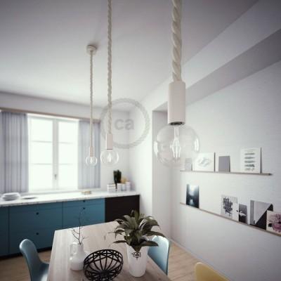 Závesná lampa s 3XL 30mm lanovým káblom, lakované drevené prvky - Vyrobená v Taliansku