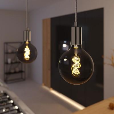 Závesná lampa s textilným elektrickým káblom a kovovými prvkami - Vyrobená v Taliansku