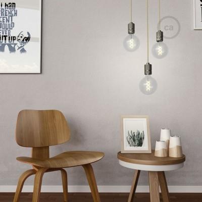 Závesné svietidlo s textilným káblom a vrúbkovanou hliníkovou objímkou pre tienidlo - Vyrobená v Taliansku