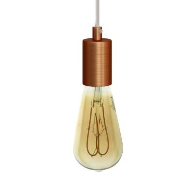 Závesná lampa s textilným káblom a matnými kovovými prvkami - Vyrobená v Taliansku