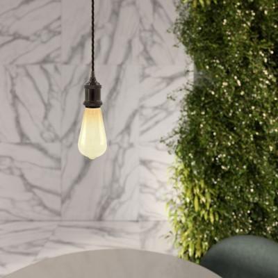 Závesné svietidlo so stočeným textilným káblom a hliníkovou objímkou - Vyrobená v Taliansku