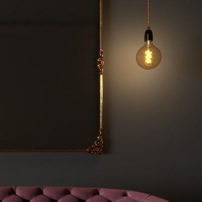 Závesná lampa so stočeným textilným káblom a porcelánovými prvkami - Vyrobená v Taliansku