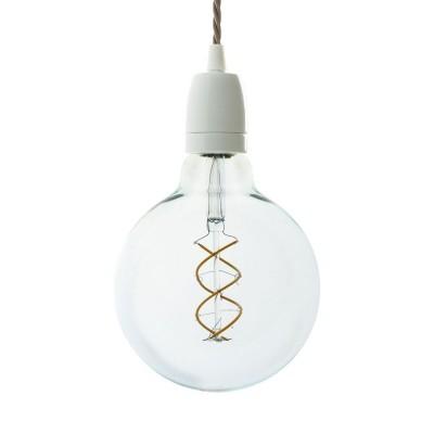 Závesná lampa so stočeným textilným káblom a bielymi prvkami z porcelánu - Vyrobená v Taliansku