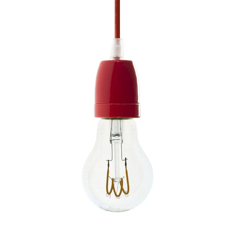 Závesná lampa s textilným káblom a farebnými prvkami z porcelánu - Vyrobená v Taliansku