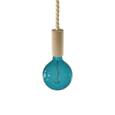 Závesná lampa s XL lanovým káblom a drevenými prvkami - Vyrobená v Taliansku