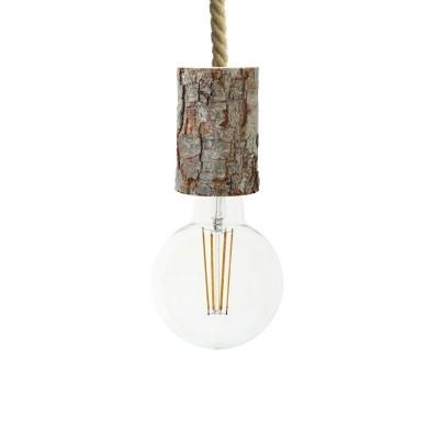 Závesná lampa s XL lanovým káblom a malou drevenou objímkou s kôrou - Vyrobená v Taliansku