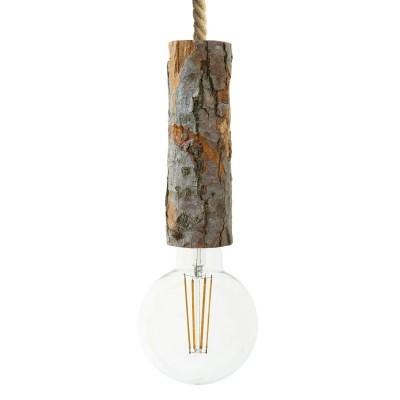 Závesná lampa s XL lanovým káblom a veľkou drevenou objímkou s kôrou - Vyrobená v Taliansku