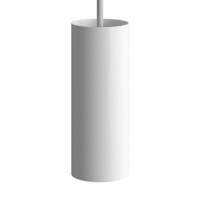 Závesná lampa s textilným káblom, tienidlom Tub-E14 a kovovými detailmi – Vyrobená v Taliansku