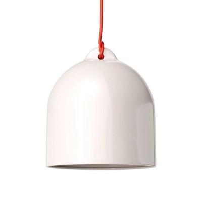 Závesná lampa s textilným káblom a keramickým tienidlom Zvon M - Vyrobená v Taliansku