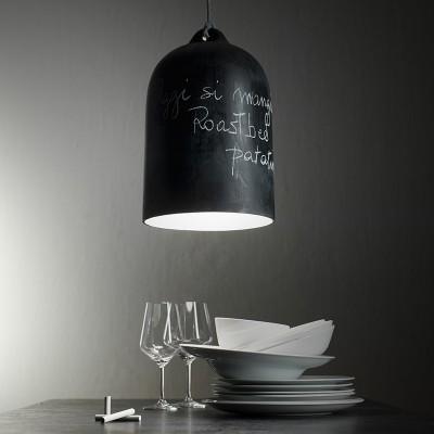 Závesná lampa s textilným káblom a keramickým tienidlom Zvon XL – Vyrobená v Taliansku