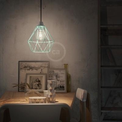 Závesná lampa s textilným káblom, klietkovým tienidlom Diamant a kovovými detailmi – Vyrobená v Taliansku