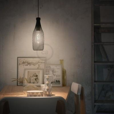 Závesná lampa s textilným káblom, klietkovým tienidlom Magnum a kovovými detailmi – Vyrobená v Taliansku