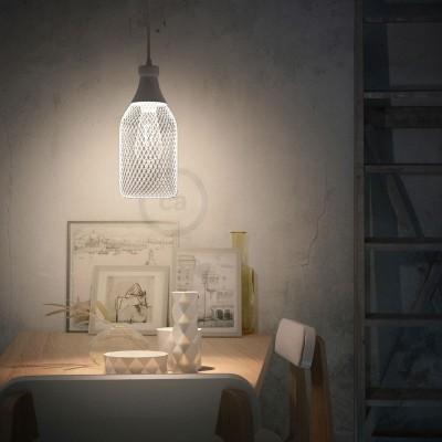 Závesná lampa s textilným káblom, tienidlom v tvare fľaše Jéroboam a kovovými detailmi – Vyrobená v Taliansku