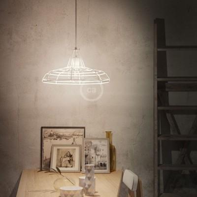 Závesná lampa s textilným káblom, klietkovým tienidlom Sonar a kovovými detailmi – Vyrobená v Taliansku