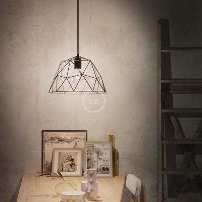 Závesná lampa s textilným káblom, klietkovým tienidlom Dome a kovovými detailmi – Vyrobená v Taliansku