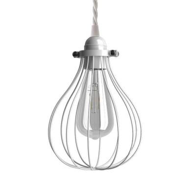 Závesná lampa s textilným káblom, klietkovým tienidlom Kvapka a kovovými detailmi – Vyrobená v Taliansku