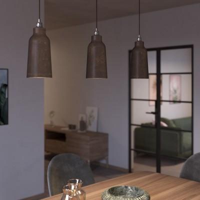 Závesná lampa s textilným káblom, keramickým tienidlom v tvare Fľaše s kovovými detailmi - Vyrobená v Taliansku