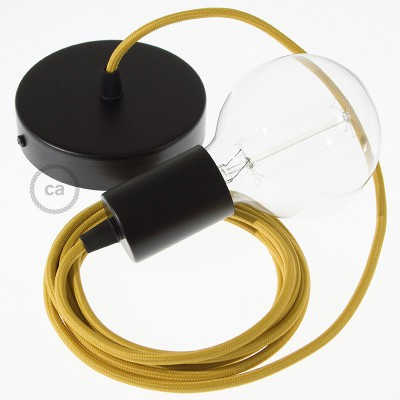 Závesná lampa s okrúhlym textilným káblom - hodváb - horčicová RM25