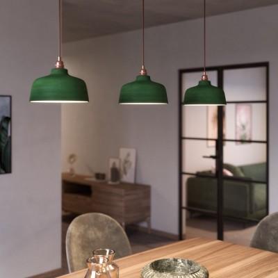 Závesná lampa s textilným káblom, keramickým tienidlom v tvare Misky s kovovými detailmi - Vyrobená v Taliansku