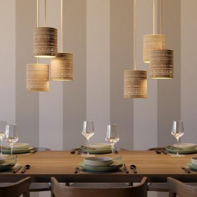 Závesná lampa s textilným káblom, prírodným valcovým tienidlom a kovovými detailmi – Vyrobená v Taliansku