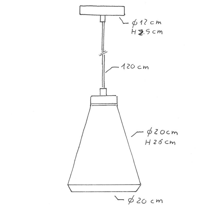 Závesná lampa s textilným káblom, betónovým tienidlom Funnel a kovovými detailmi – Vyrobená v Taliansku