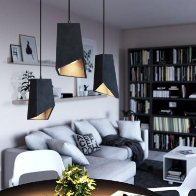 Závesná lampa s textilným káblom, betónovým tienidlom Prisma a kovovými detailmi – Vyrobená v Taliansku