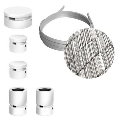 Filé systém - zostava pre cik-cak inštaláciu - 3m kábla pre svetelné šnúry a 5 bielych lakovaných drevených komponentov
