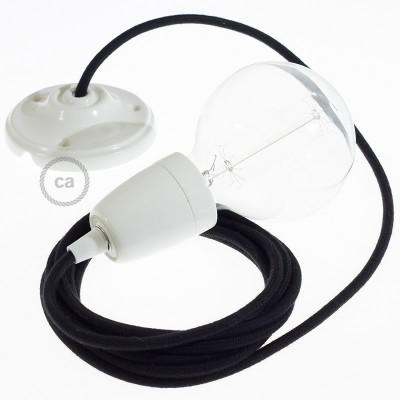 Porcelánová závesná lampa s okrúhlym textilným káblom - bavlna - čierna RC04